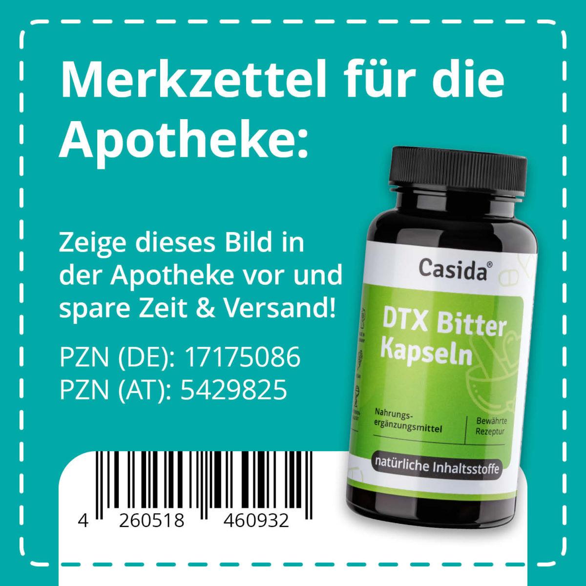 Casida DTX Bitter Kapseln – 60 Kapseln 60 Stk. PZN DE 17175086 PZN AT 5429825 UVP 14,95 € EAN 4260518460932