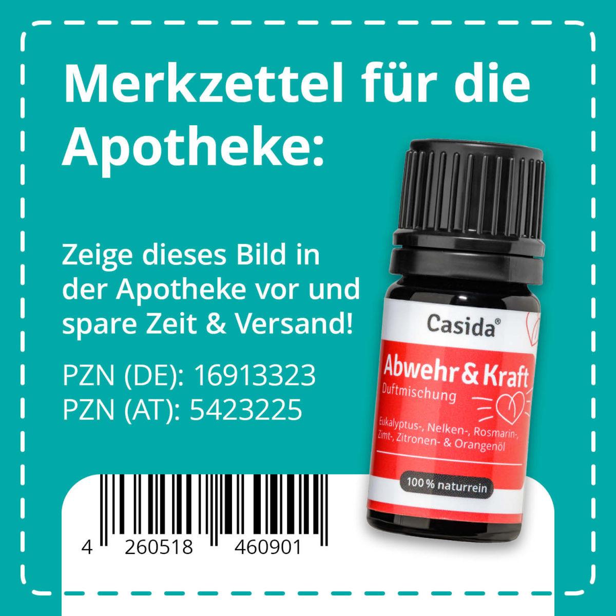 Casida Duftmischung Abwehr & Kraft – 5 ml 6 ml PZN DE 16913323 PZN AT 5423225 UVP 9,90 € EAN 4260518460901