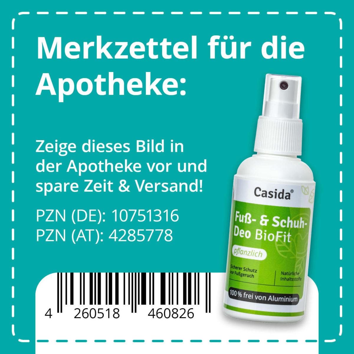 Casida Fuß- und Schuhdeo BioFit Pflanzlich 100 ml PZN DE 10751316 PZN AT 4285778 UVP 14,95 € EAN 4260518460826