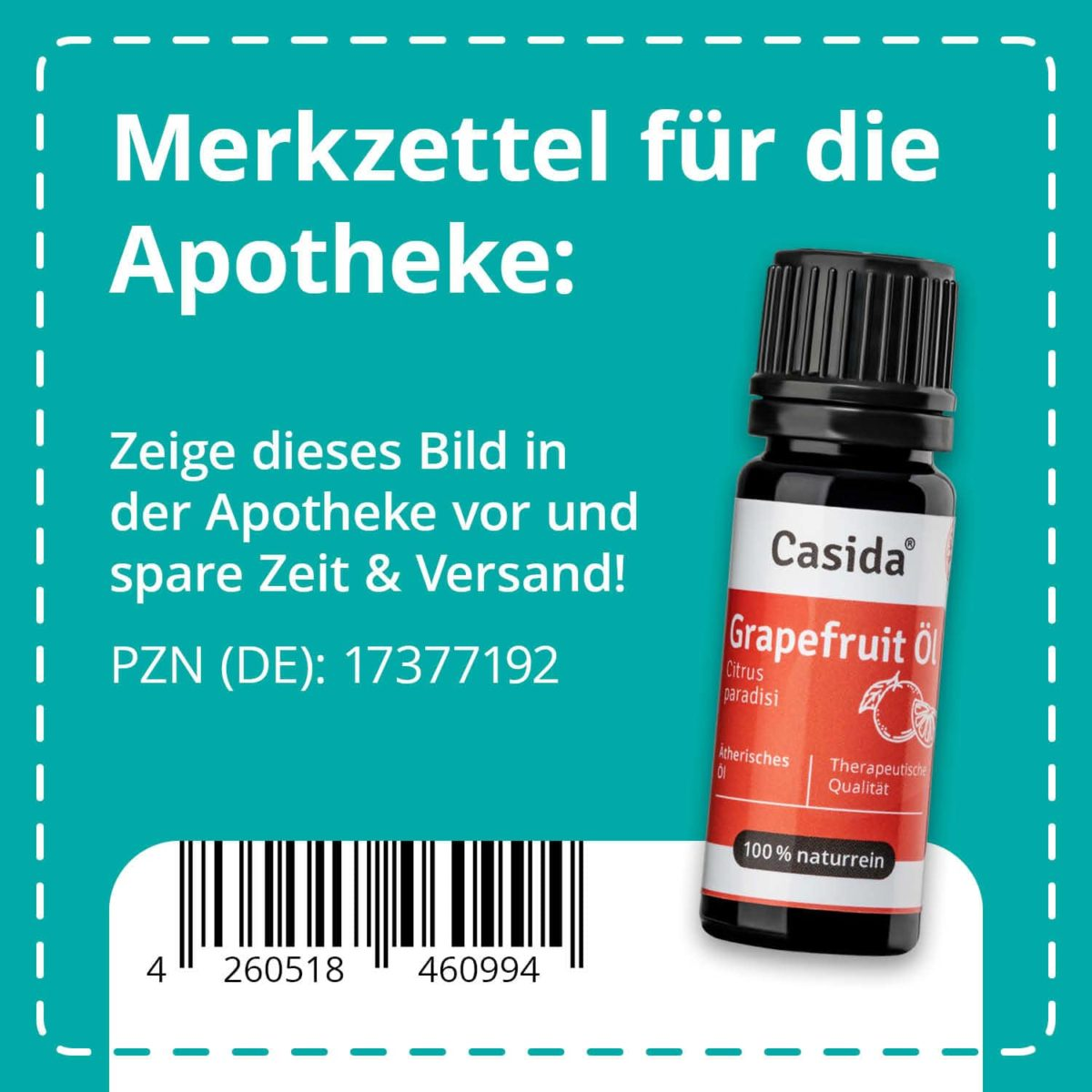 Casida Grapefruit Öl - 10 ml citrus paradisi naturrein 17377192 PZN Apotheke EAN 4260518460994