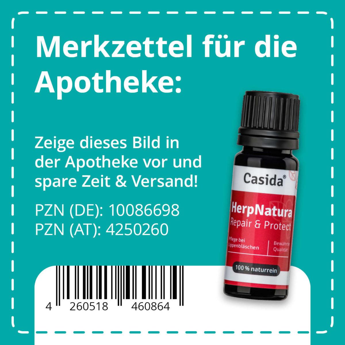 Casida HerpNatura Repair & Protect 10 ml PZN DE 10086698 PZN AT 4250260 UVP 12,95 € EAN 4260518460864