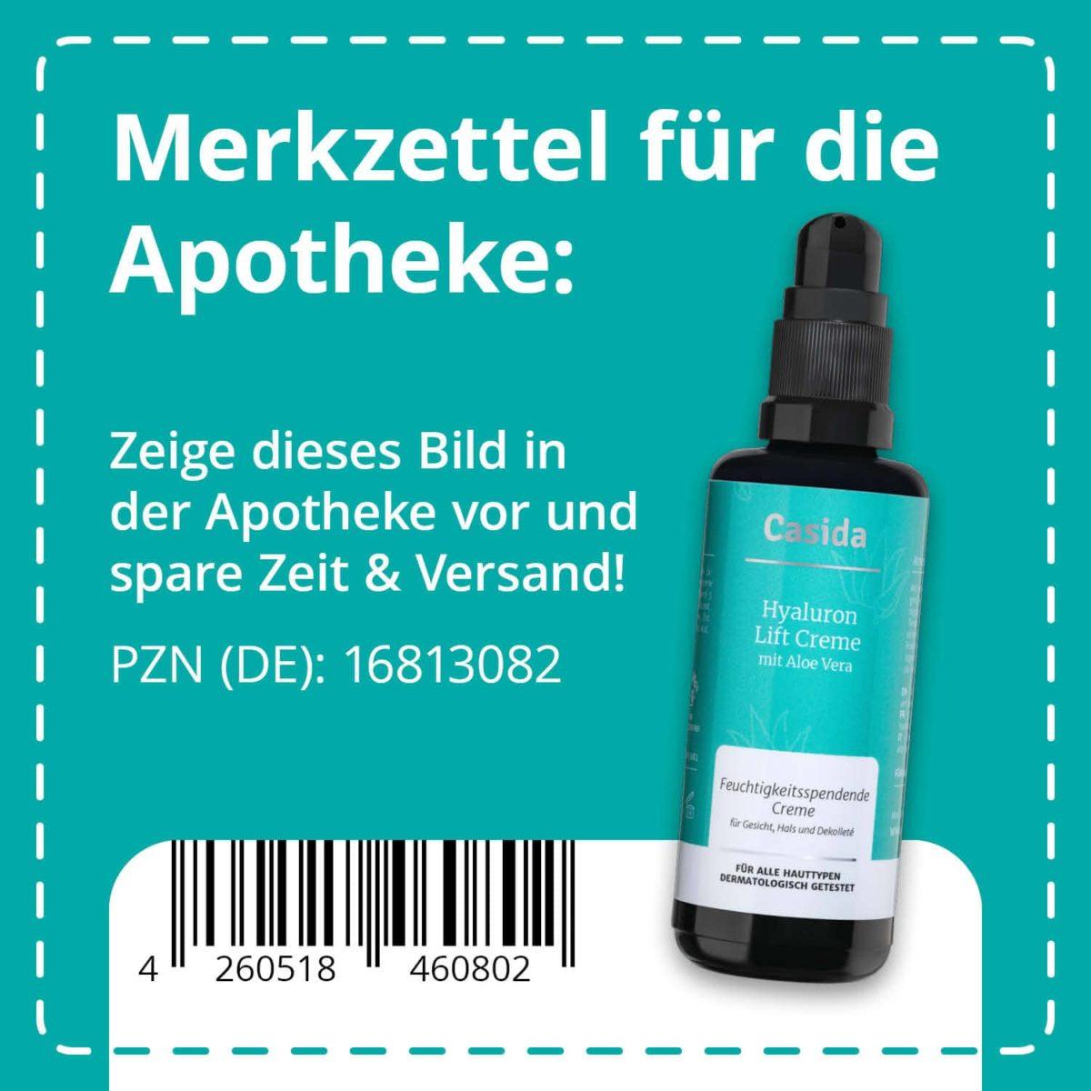 Casida Hyaluron Lift Creme mit Aloe Vera 50 ml 16813082 PZN Apotheke UVP 26,95 € EAN 4260518460802