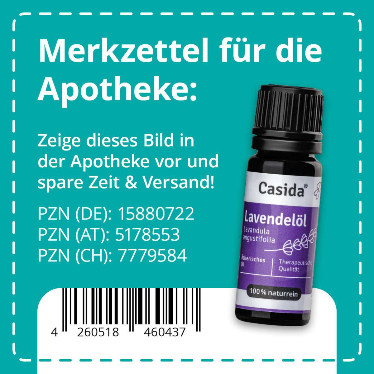 Casida Lavendelöl naturrein 10 ml PZN DE 15880722 PZN AT 5178553 PZN CH 7779584 UVP 9,95 € EAN 4260518460437