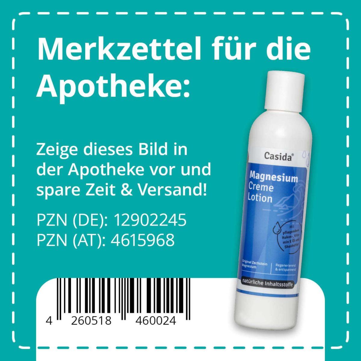 Casida Magnesium Creme Lotion 200 ml PZN DE 12902245 PZN AT 4615968 UVP 16,95 € EAN 4260518460024