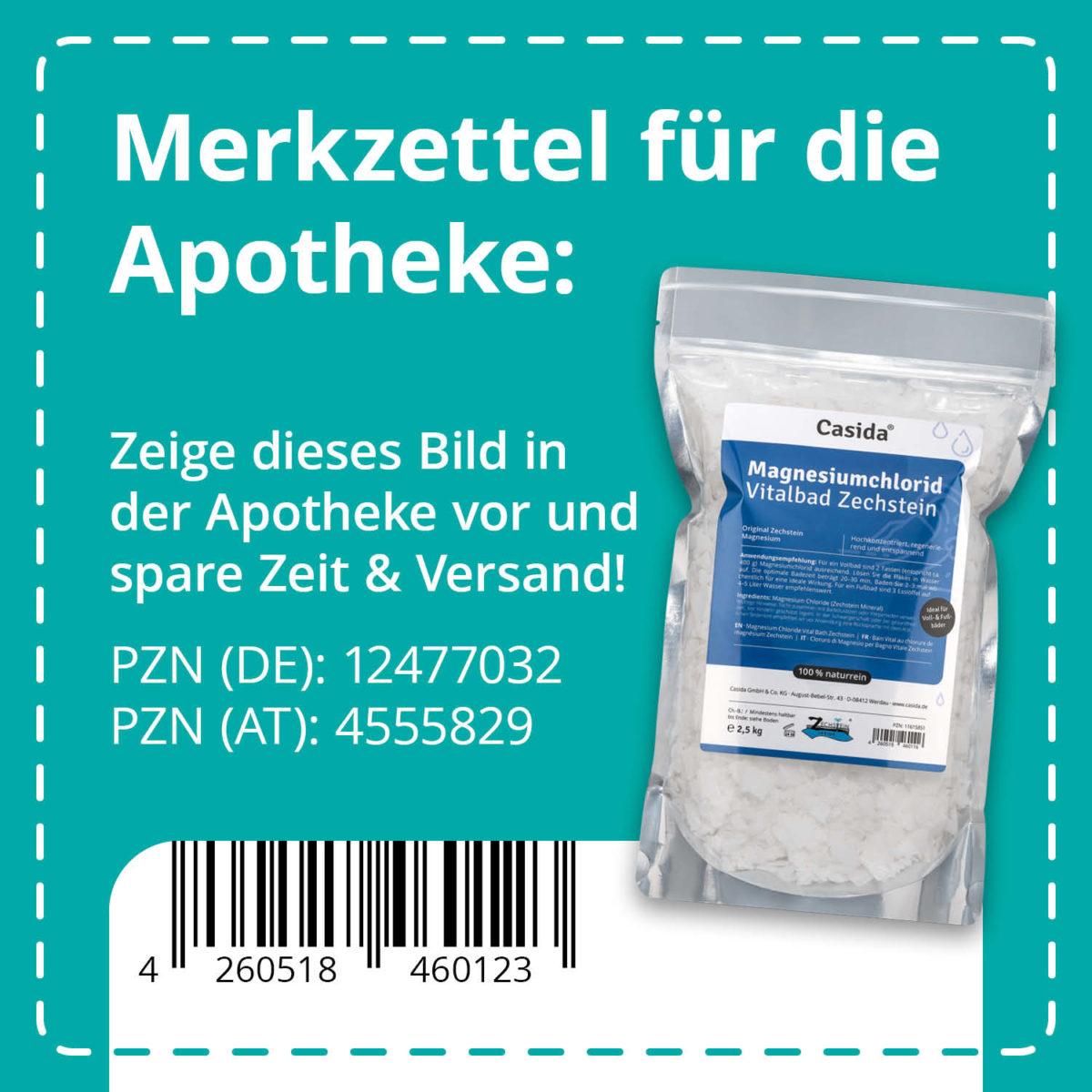 Casida Magnesiumchlorid Vitalbad Zechstein 2,5 kg PZN DE 12477032 PZN AT 4555829 UVP 26,95 € EAN 4260518460123