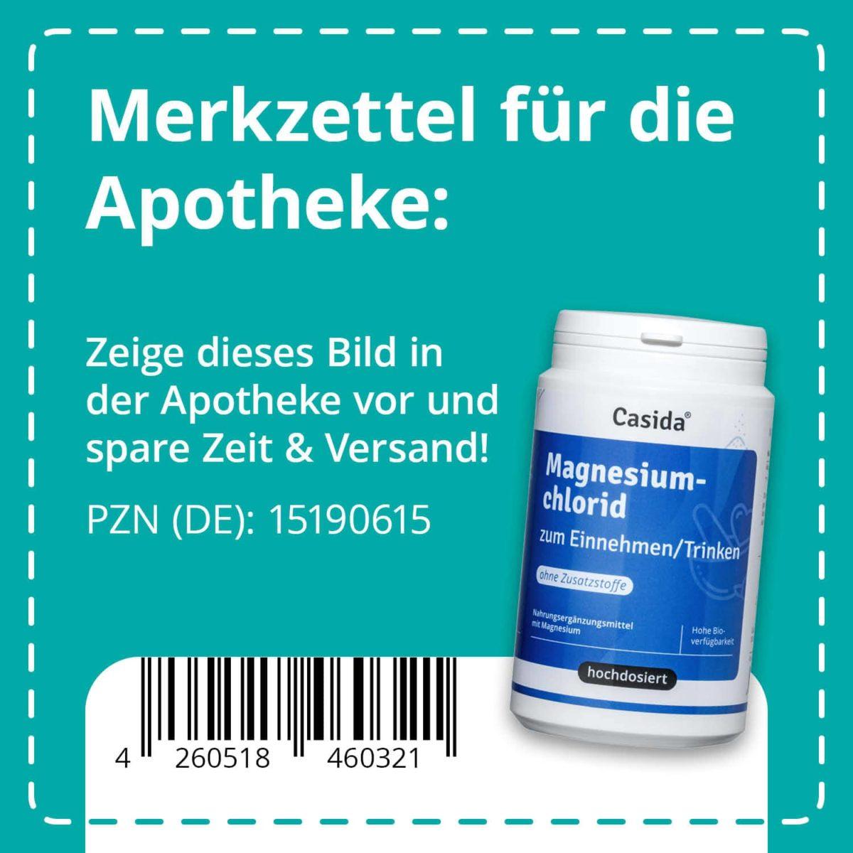Casida Magnesiumchlorid zum Einnehmen 210 g PZN DE 15190615 UVP 13,95 € EAN 4260518460321