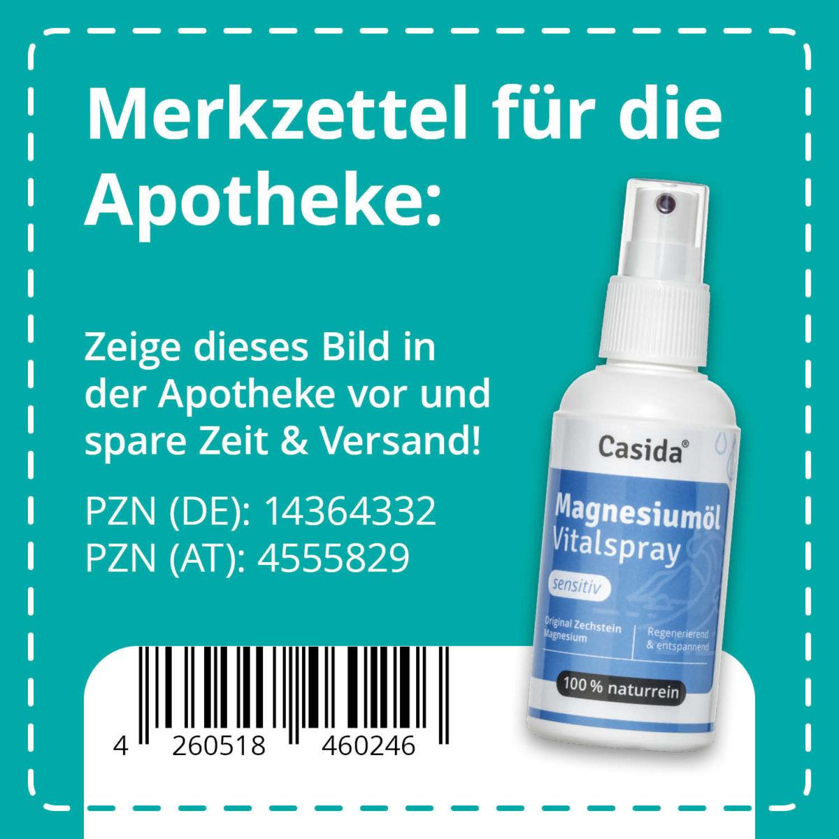 Casida Magnesiumöl Vitalspray Sensitiv 100 ml PZN DE 14364332 PZN AT 4555829 UVP 12,90 € EAN 4260518460246