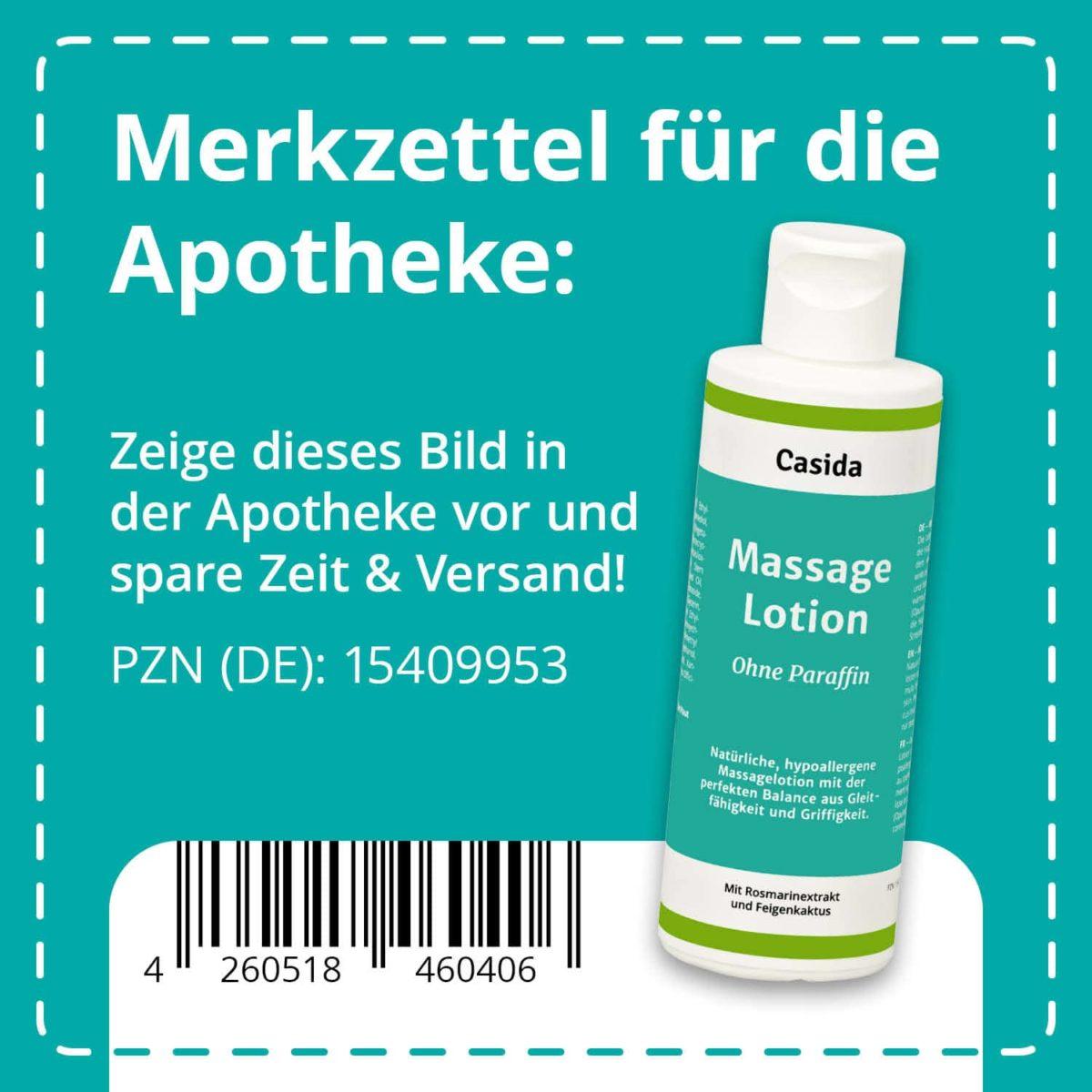 Casida Massagelotion Natural ohne Paraffin 200 ml PZN DE 15409953 UVP 12,49 € EAN 4260518460406