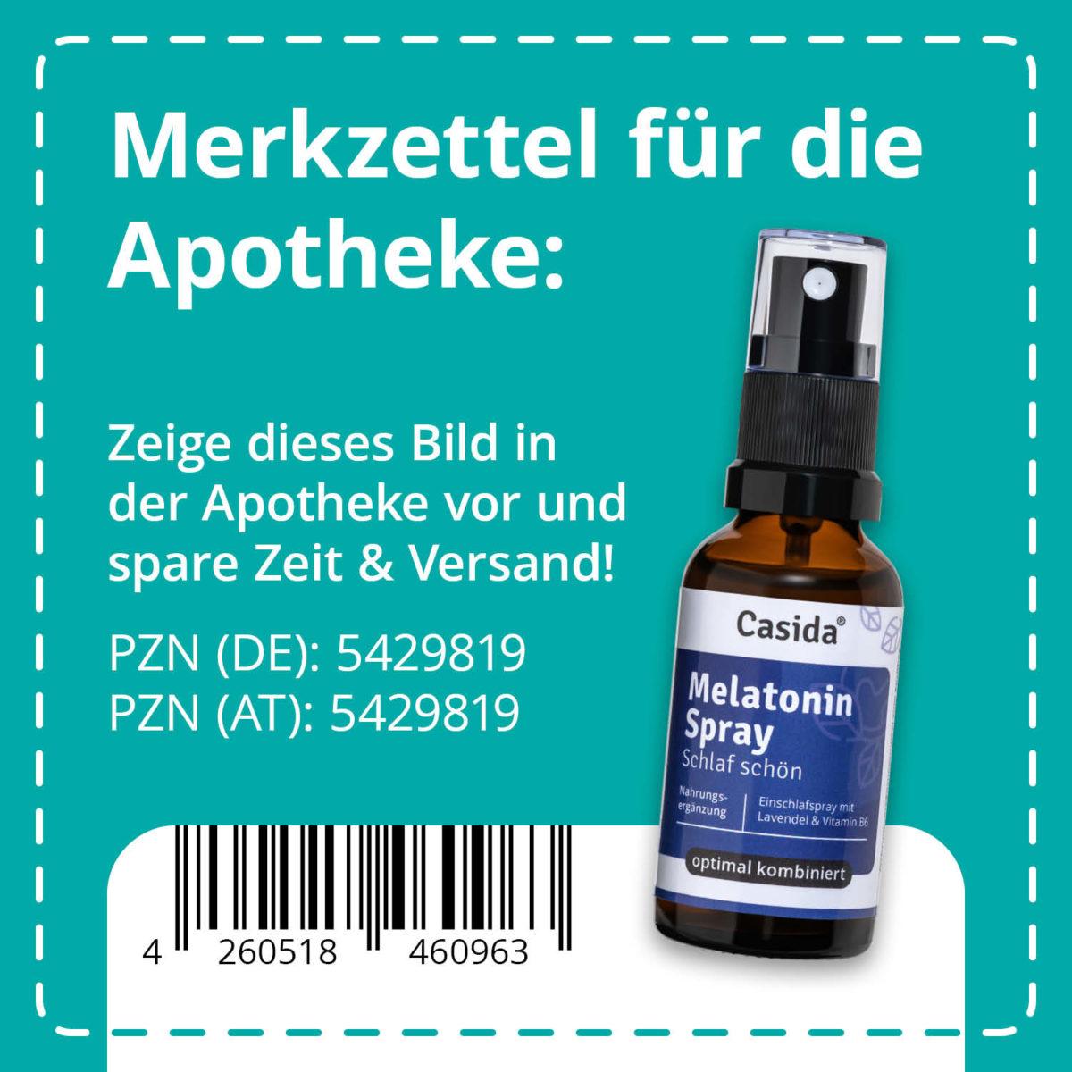 Casida Melatonin Spray Schlaf schön 30 ml PZN DE 5429819 PZN AT 5429819 UVP 16,95 € EAN 4260518460963
