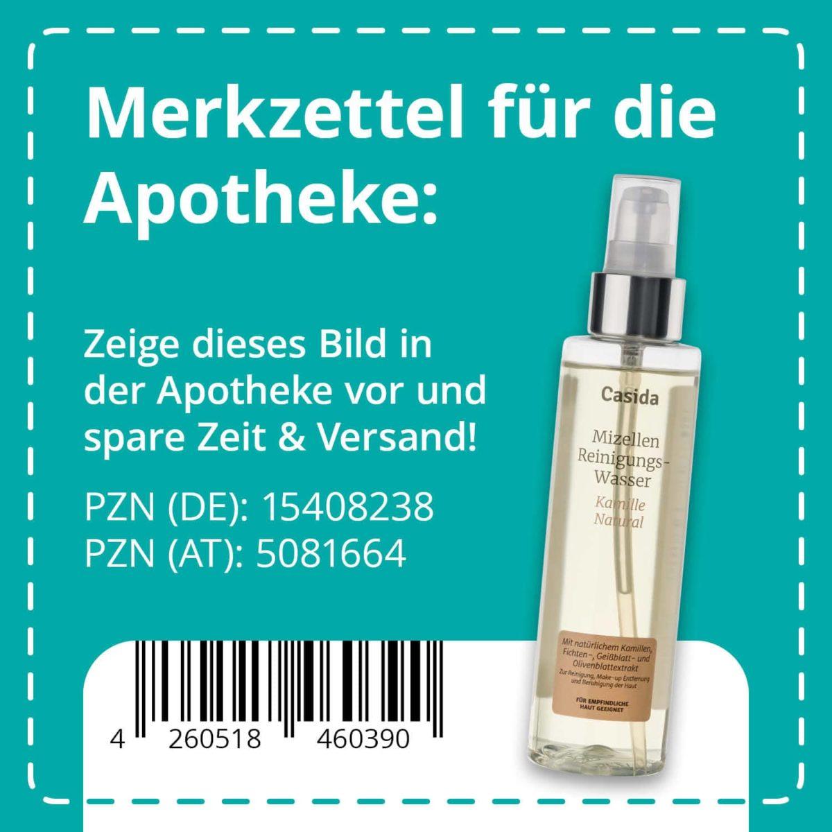 Casida Mizellenwasser Kamille 150 ml PZN DE 15408238 PZN AT 5081664 UVP 14,95 € EAN 4260518460390