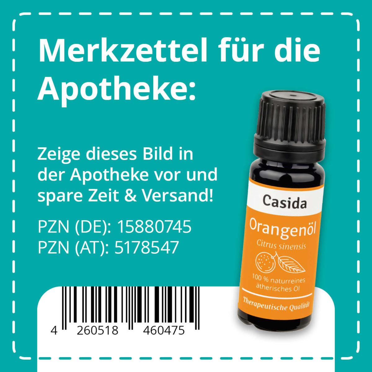 Casida Orangenöl naturrein 10 ml PZN DE 15880745 PZN AT 5178547 UVP 7,90 € EAN 4260518460475