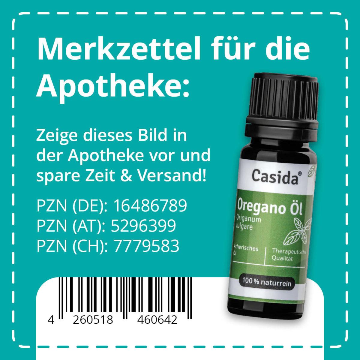 Casida Oregano oil Origanum vulgare natural and pure– 10 ml 16486789 PZN pharmacy essential oils diffuser herbal antibiotics