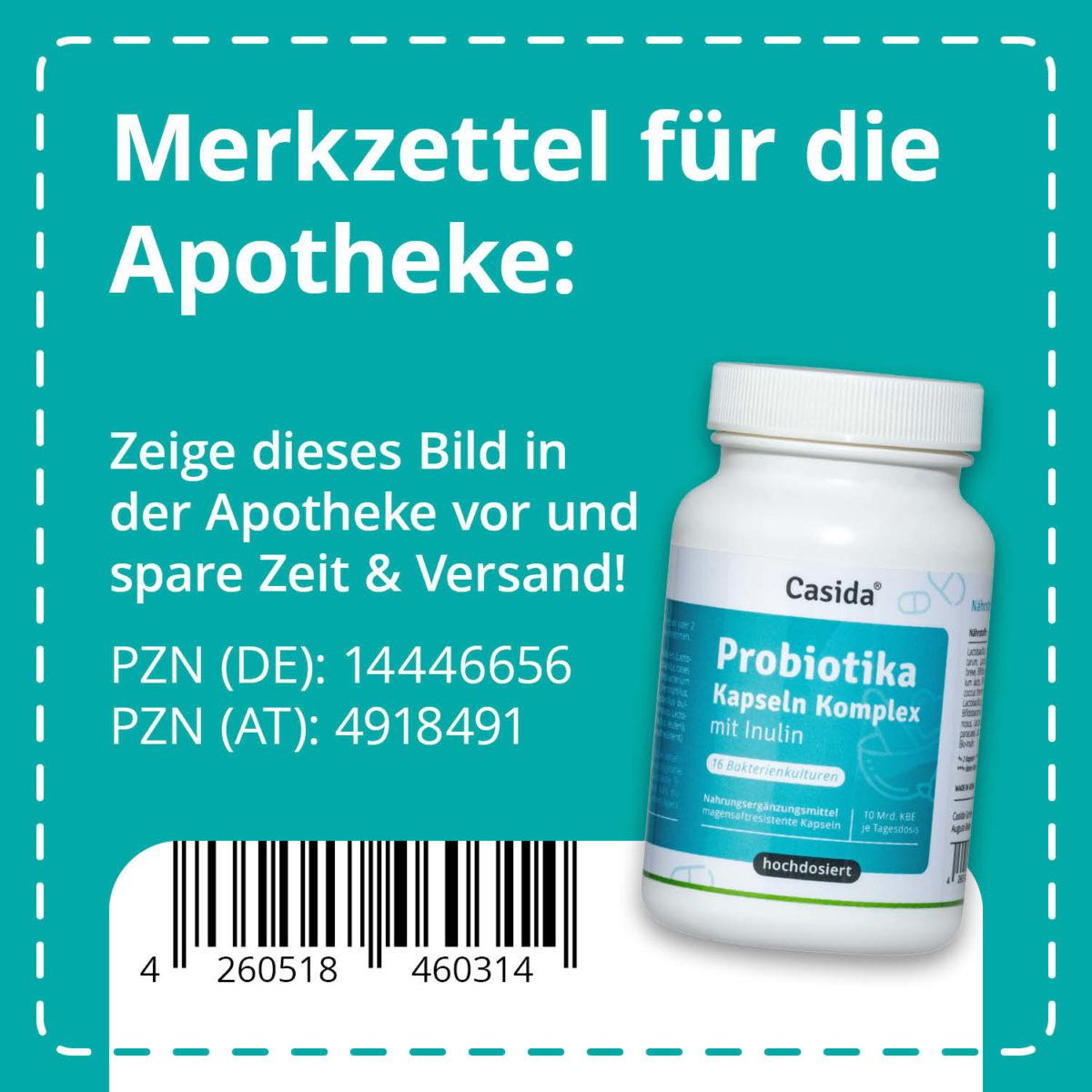 Casida Probiotika Kapseln Komplex + Inulin 120 Stk. PZN DE 14446656 PZN AT 4918491 UVP 25,99 € EAN 4260518460314