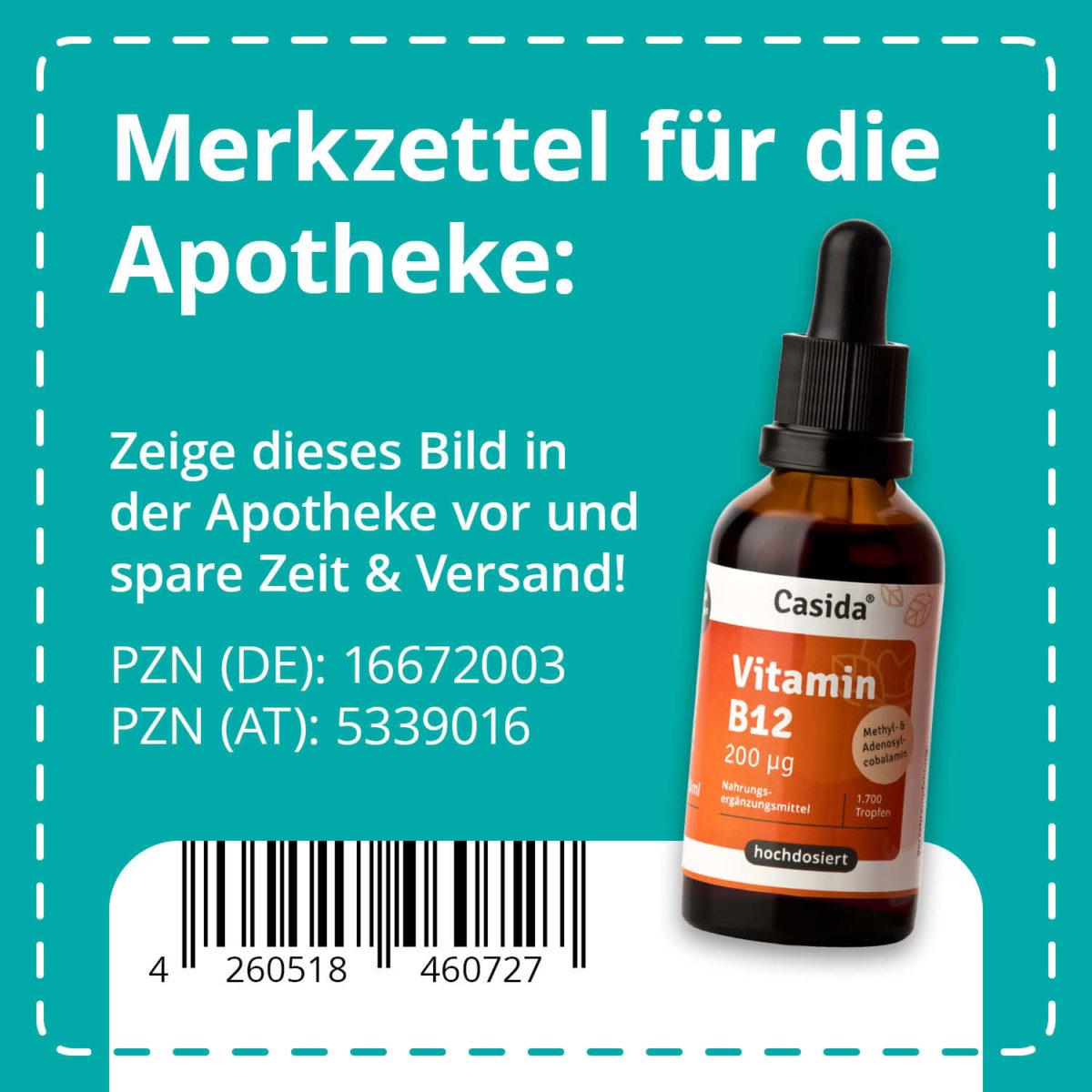 Casida Vitamin B12 Tropfen vegan 50 ml PZN DE 16672003 PZN AT 5339016 UVP 22,95 € EAN 4260518460727