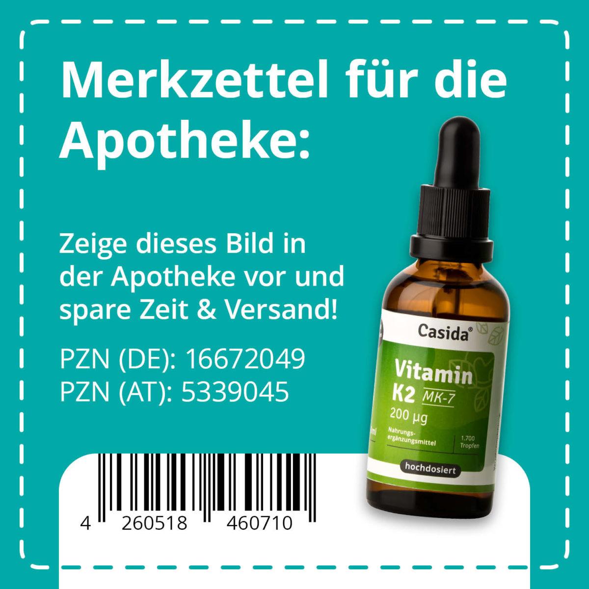 Casida Vitamin K2 Tropfen 20 µg MK7 vegan 50 ml PZN DE 16672049 PZN AT 5339045 UVP 22,95 € EAN 4260518460710