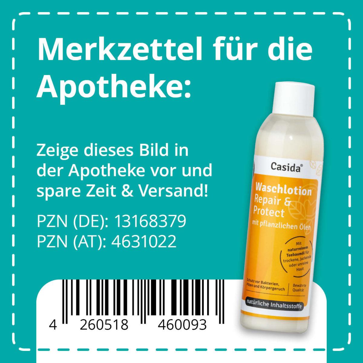 Casida Washing Lotion Repair & Protect 200 ml PZN DE 13168379 PZN AT 4631022 UVP 14,95 € EAN 4260518460093