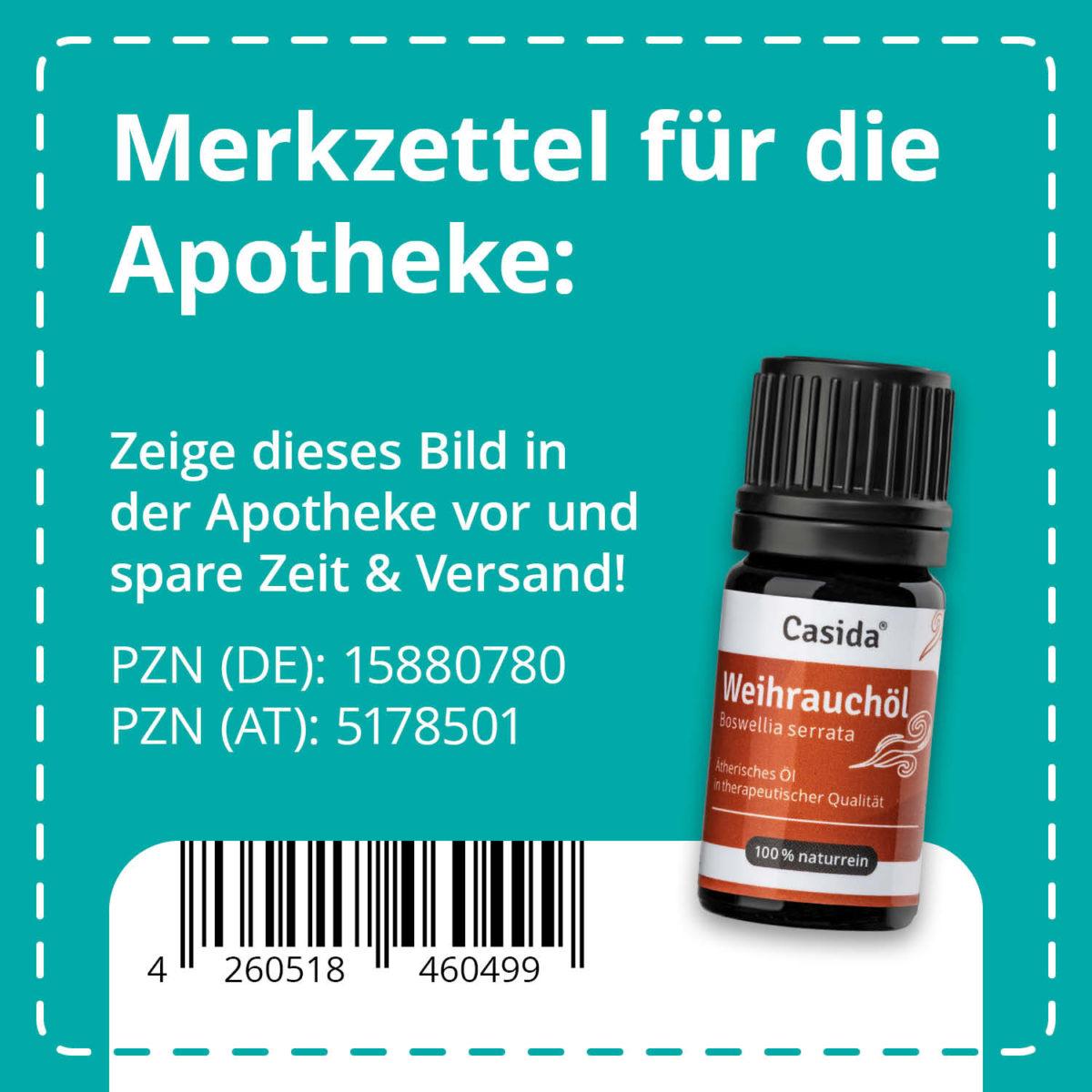 Casida Weihrauchöl naturrein 5 ml PZN DE 15880780 PZN AT 5178501 UVP 9,90 € EAN 4260518460499