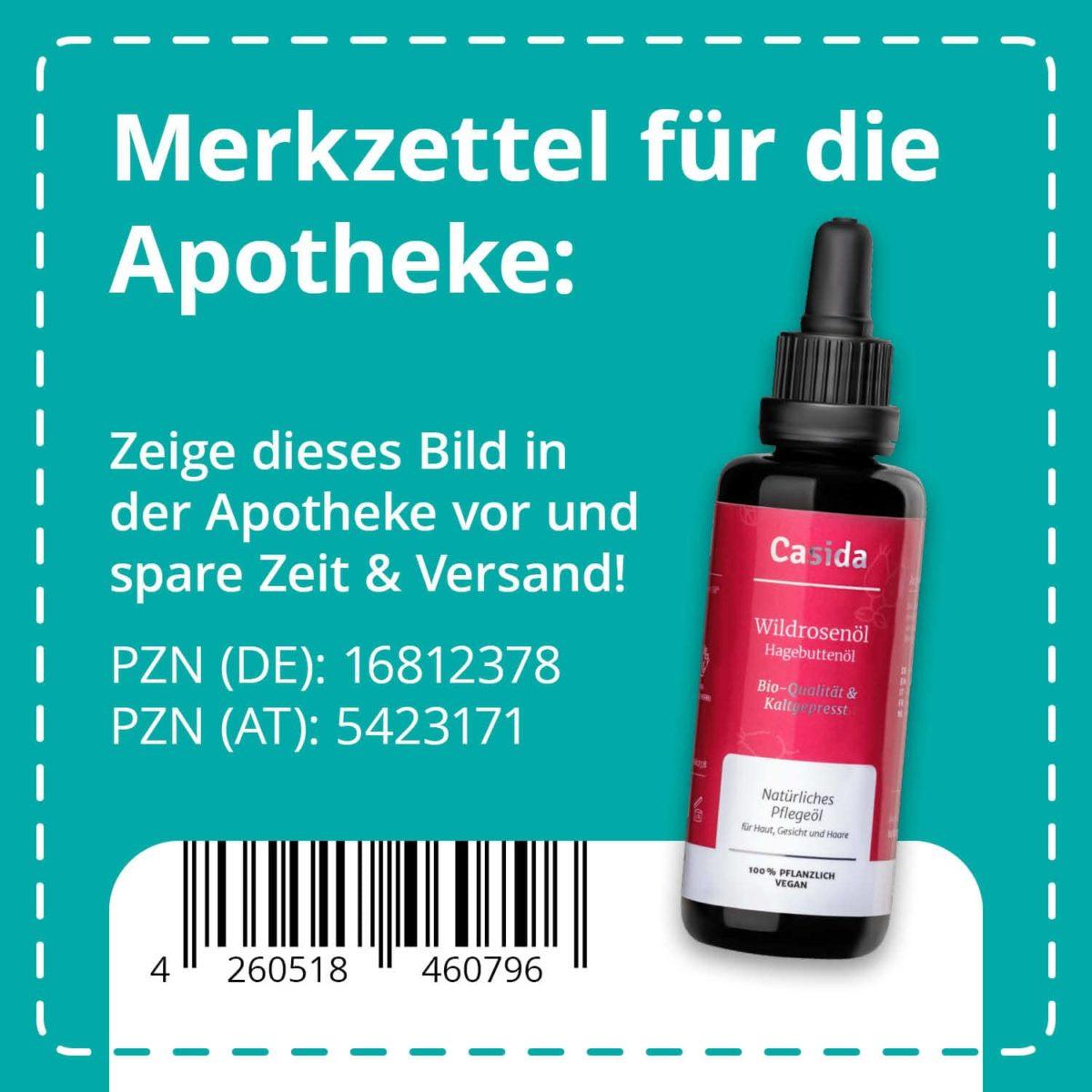 Casida Wildrosenöl Bio & Kaltgepresst 50 ml PZN DE 16812378 PZN AT 5423171 UVP 18,95 € EAN 4260518460796