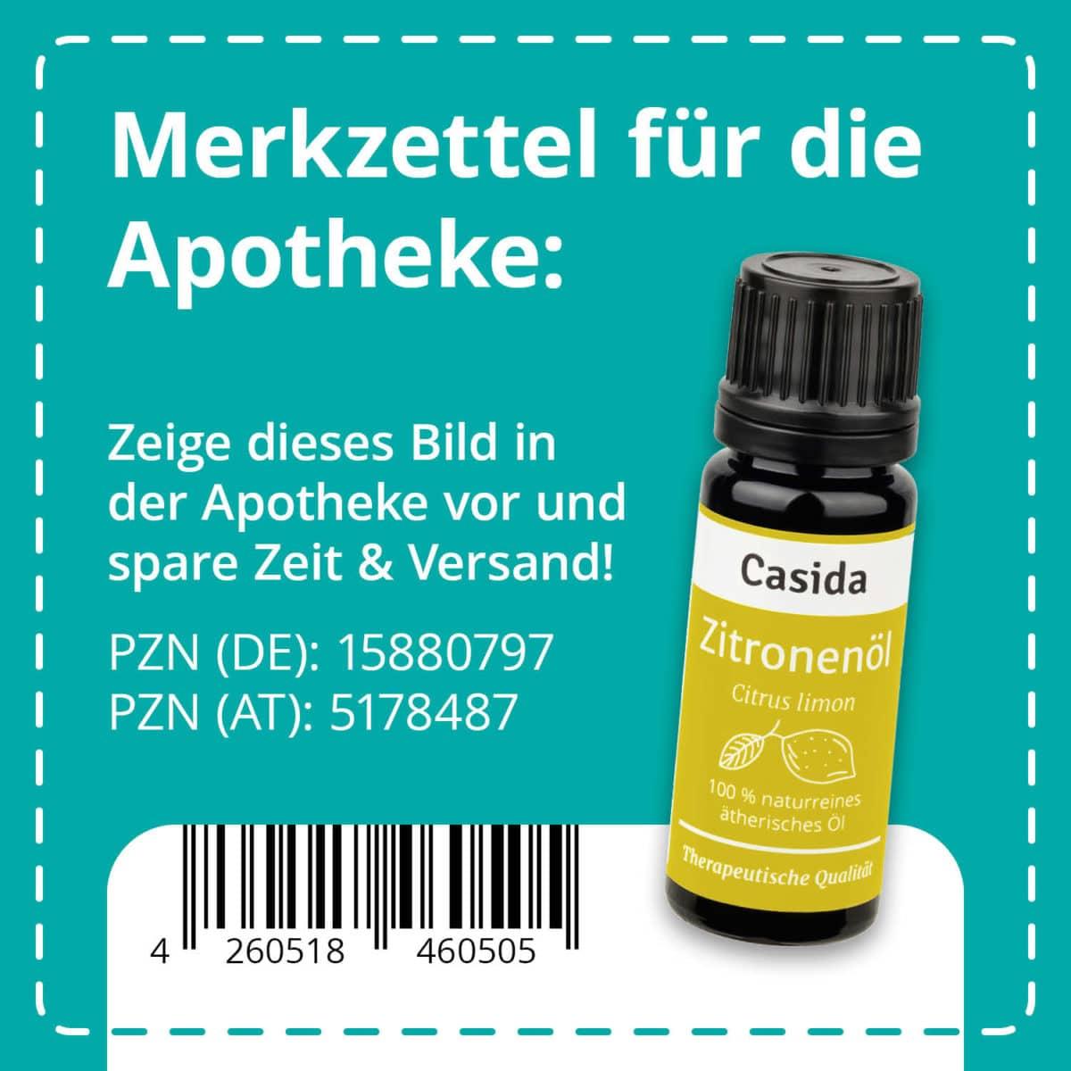 Casida Zitronenöl naturrein 10 ml PZN DE 15880797 PZN AT 5178487 UVP 7,90 € EAN 4260518460505