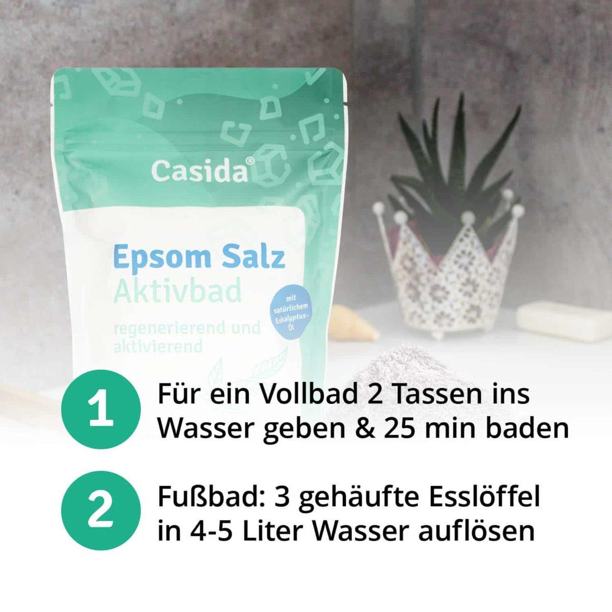 Casida Epsom Salt Activating Bath 1 kg PZN DE 17383933 PZN EAN 4260518461021 Eukalyptus Erkältungsbad6